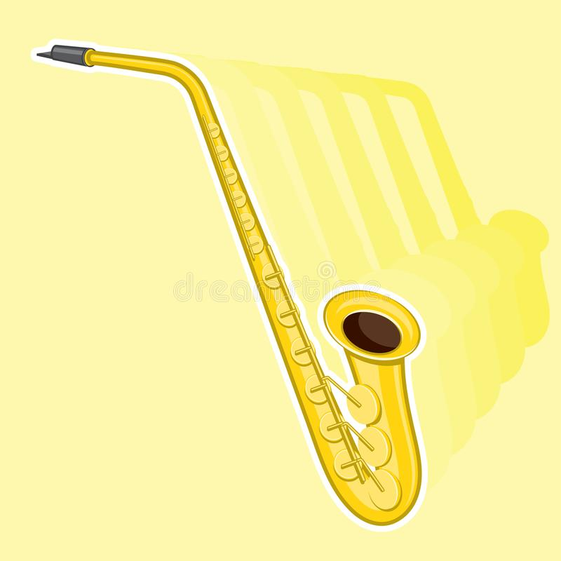 Vector illustration. Classical music wind instrument saxophone vector illustration