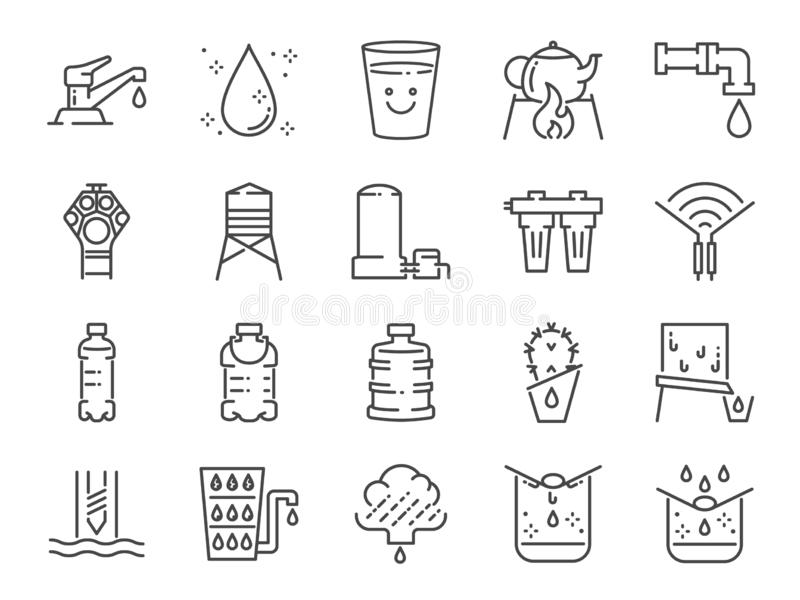 Clean water line icon set. Included icons as drink, drinkable, filter, purifiers, moisture and more. vector illustration