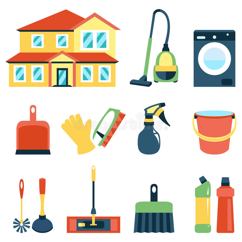 Vector illustration of cleaning icons color set. Vector illustration of cleaning icons color collection royalty free illustration
