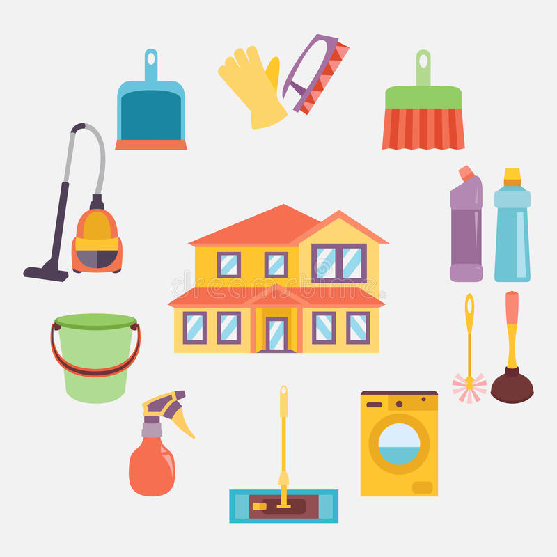 Vector illustration of cleaning icons color set. Vector illustration of cleaning icons color collection stock illustration