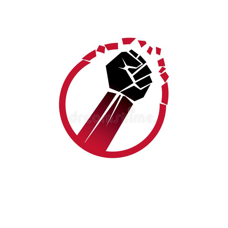 Vector illustration of clenched fist breaks the wall. No restrictions conceptual emblem. royalty free illustration