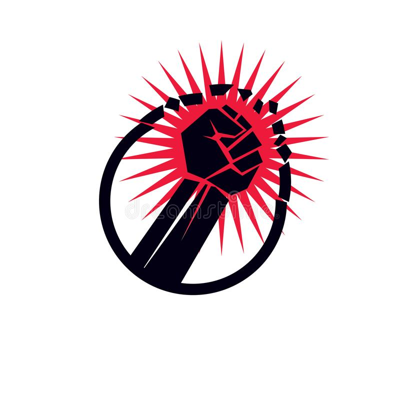 Vector illustration of clenched breaks the wall. No restrictions conceptual emblem. Vector illustration of clenched fist breaks the wall. No restrictions vector illustration
