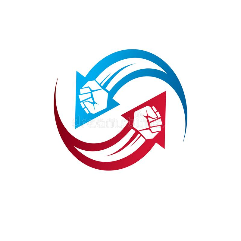 Vector illustration of clenched fist in the shape of arrow. Power and authority conceptual logo. royalty free illustration