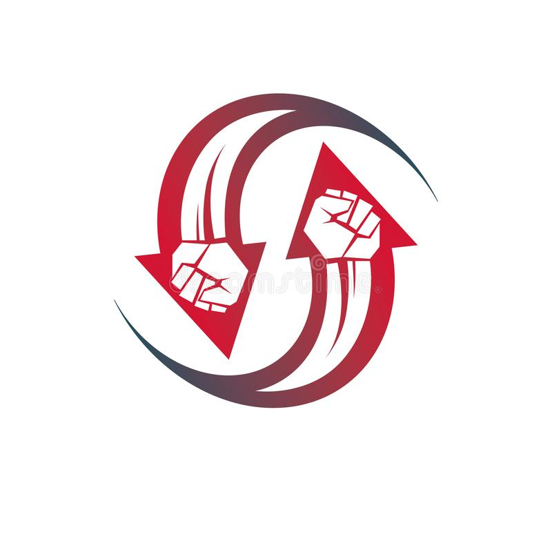 Vector illustration of clenched fist in the shape of arrow. Power and authority conceptual logo. vector illustration