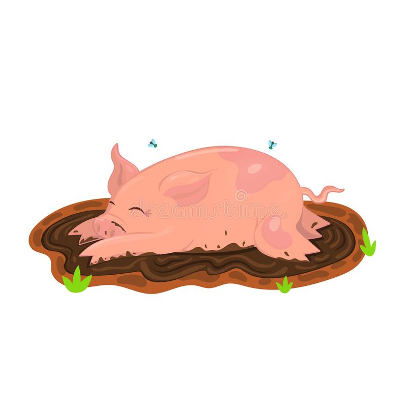 Pig is bathed in mud. Vector illustration of clip art. Isolate on white background stock illustration