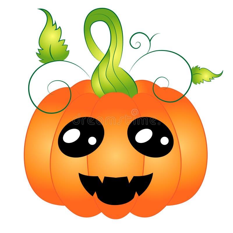 Cartoon Chibi Halloween Pumpkin with face stock illustration