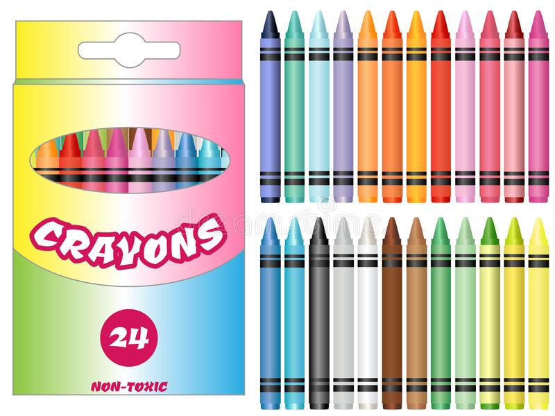 Vector Illustration Colorful Crayons Set. Vector Illustration clipart of a set of twenty four crayons and a crayon box royalty free illustration