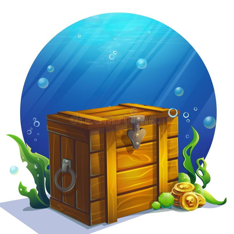 Vector illustration closed wooden old square chest royalty free illustration