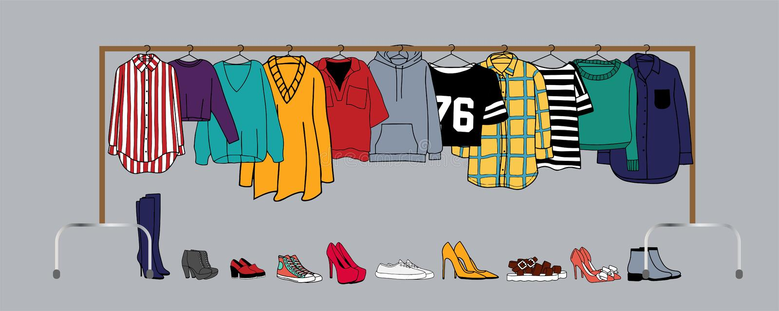 Vector illustration of clothes on hangers vector illustration