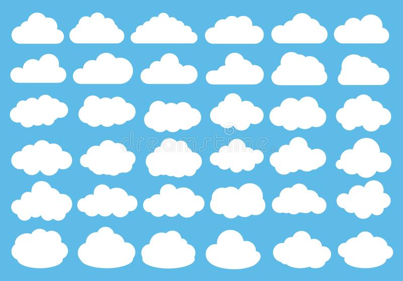 Vector illustration of clouds flat icon set vector illustration
