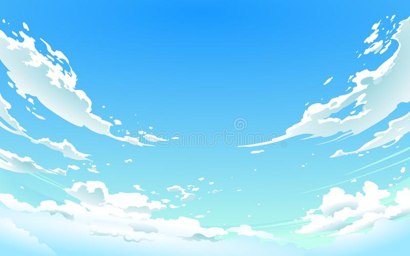 Vector illustration of cloudy sky in Anime style. royalty free stock image