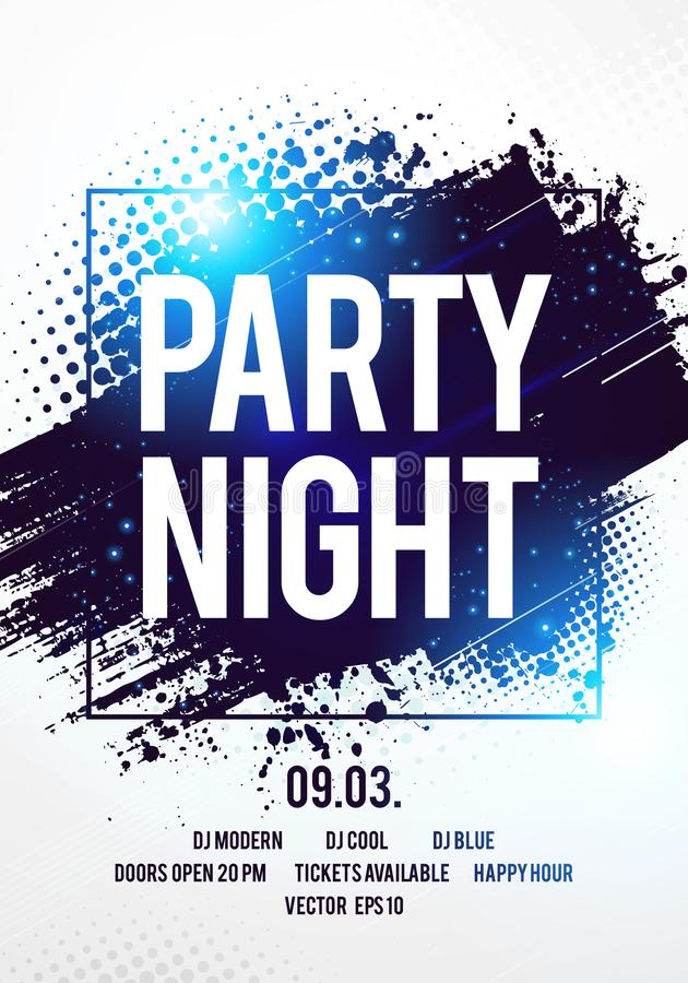 Vector illustration club disco party night flyer dancing event template with colorful background vector illustration