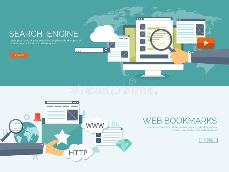 Vector illustration. Coding, programming. Web searc SEO. Development and cloud technology. Spamming e-mailing. Vector illustration. Coding, programming. Web stock illustration