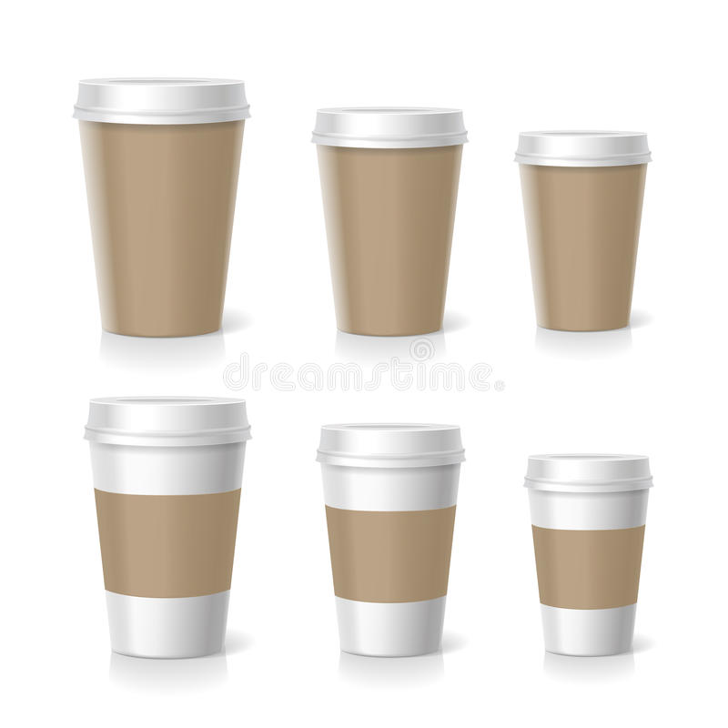 Vector illustration of coffee cups set, isolated stock illustration