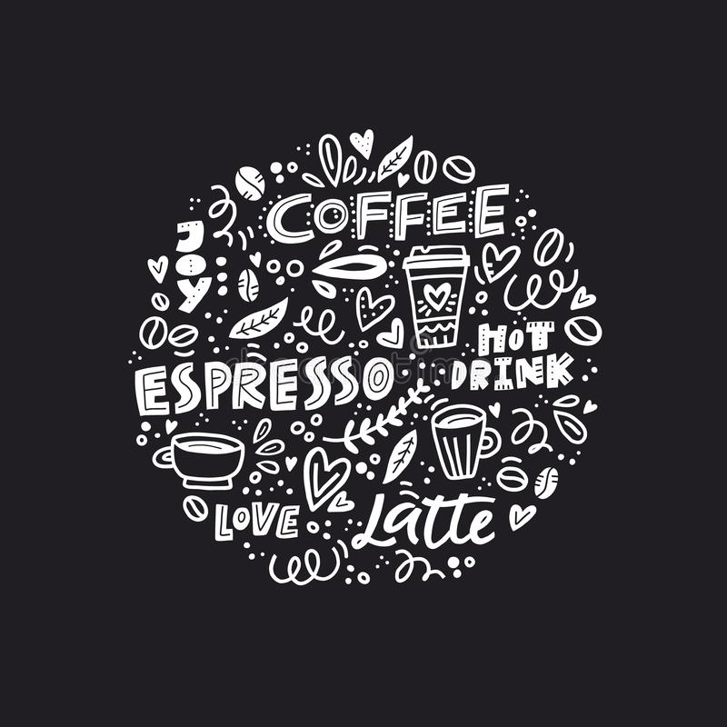 Black and white coffee concept royalty free illustration