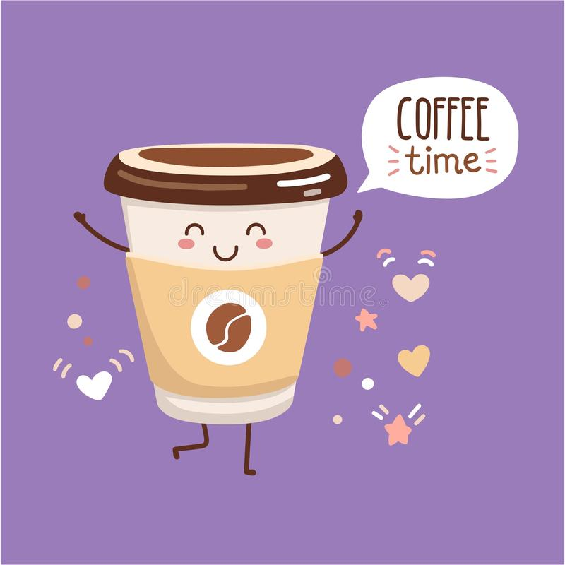 Vector illustration Coffee time with a cute paper cup. stock illustration