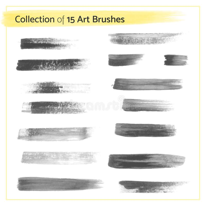 Vector Illustration - Collection of 15 Art Brushes royalty free illustration