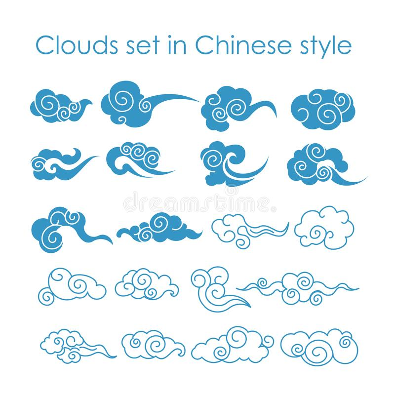 Vector illustration collection of blue clouds icons in Chinese style, flat design. stock illustration