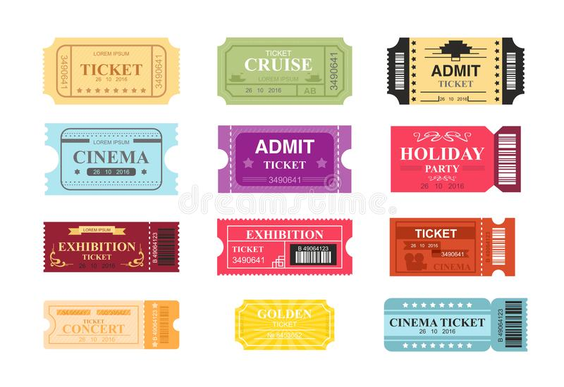 Vector illustration collection of colorful tickets with place for text. Tickets to cinema, theatre and circus in retro stock illustration