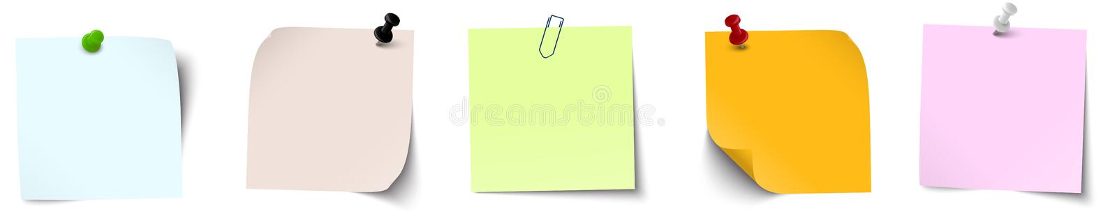 Sticky papers collection. Vector illustration of an collection of different sticky papers with pin needle or adhesive stripes office accessories, note, flyers stock illustration