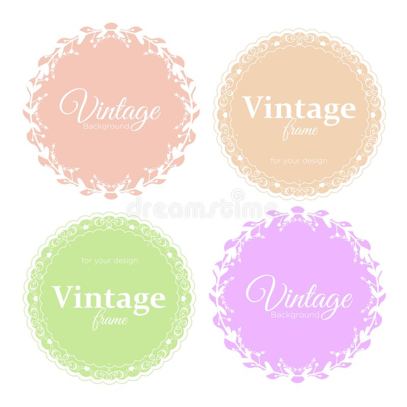 Vector illustration collection of elegant round vintage frames in light pastel colors for your text or photo. royalty free illustration