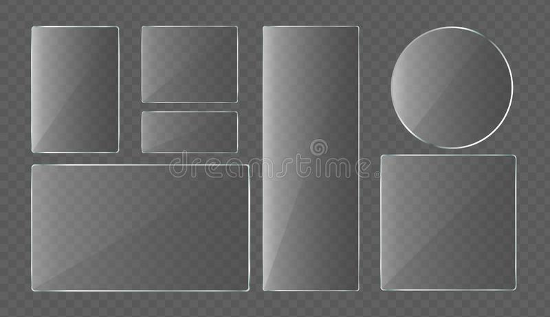 Vector illustration collection of Glass plates, protection glass for laptop and smartphone. Set of glass banners stock illustration