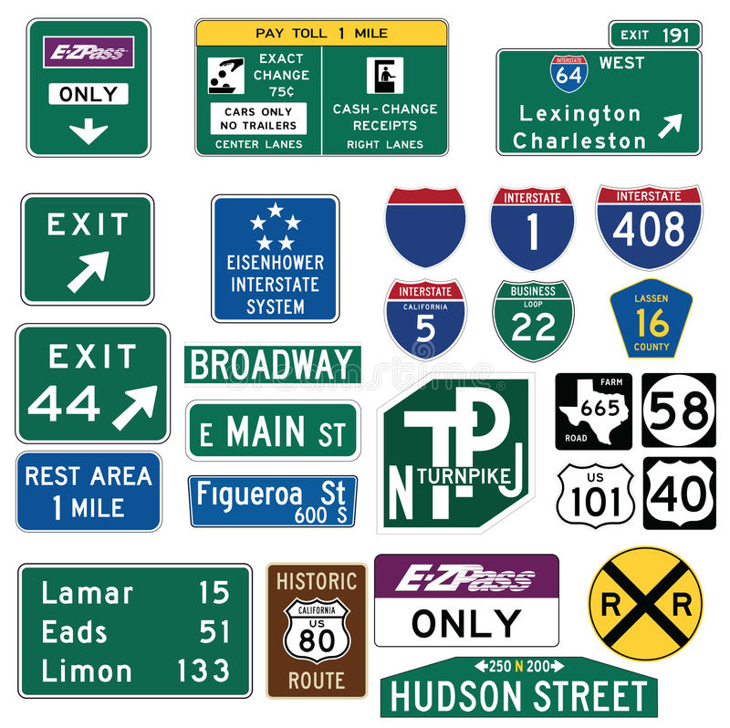 Traffic Guide Signs In The United States Stock Vector ...