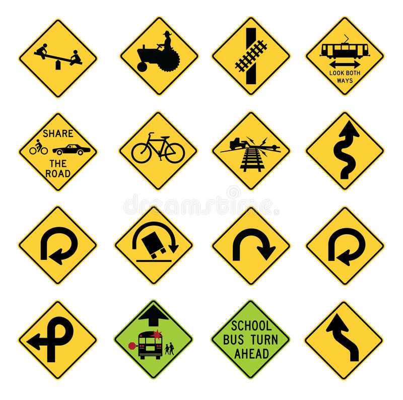 Download Traffic Warning Signs In The United States Stock Vector - Illustration of drawing, diamond: 29821839