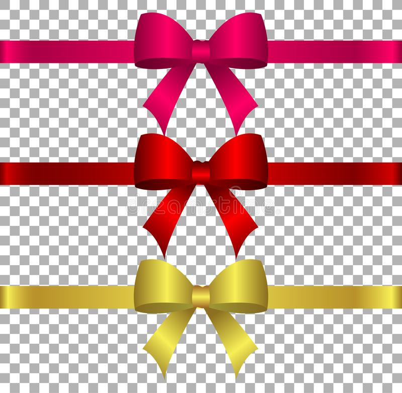 Vector illustration - collection of silk bows in dark colors with ribbons.Created with gradient mesh vector illustration