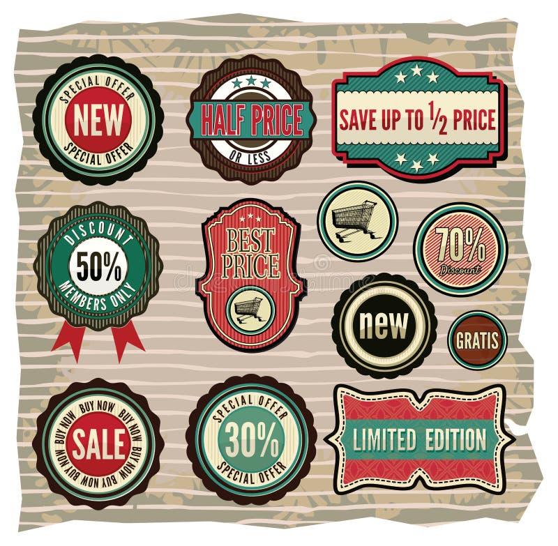 Collection of vintage retro grunge sale labels, ba