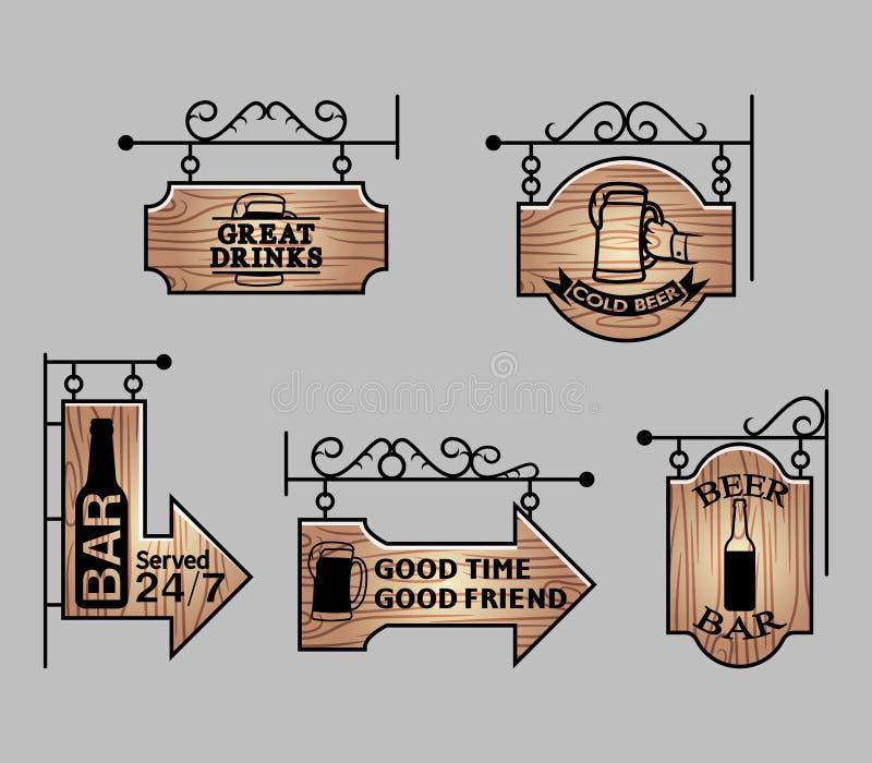 Wood Bar Signage. Vector illustration collection of wood beer bar signage royalty free illustration