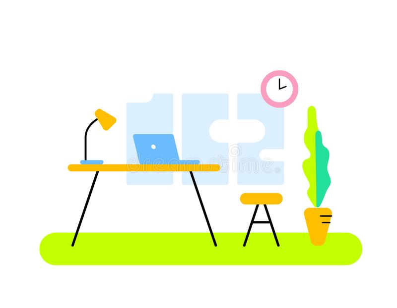 Vector illustration of color front view interior home office room workspace. stock photo