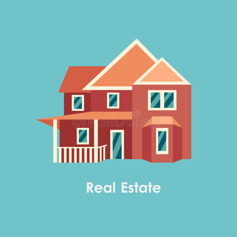 Vector illustration of color house and real estate stock illustration