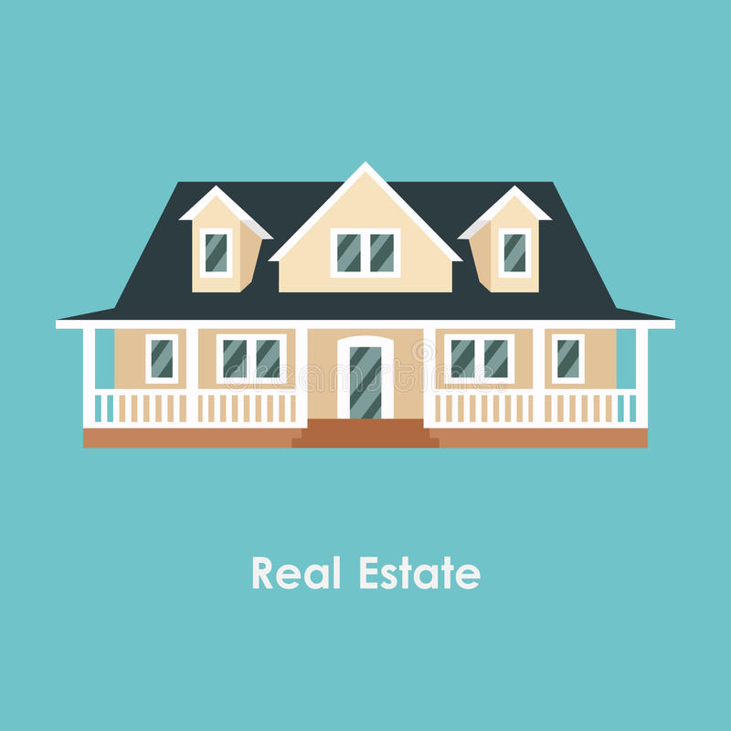 Vector illustration of color house and real estate royalty free illustration