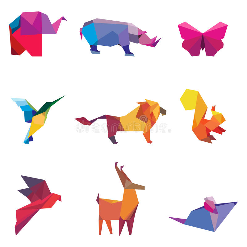 Vector illustration of color origami animals. And birds royalty free illustration