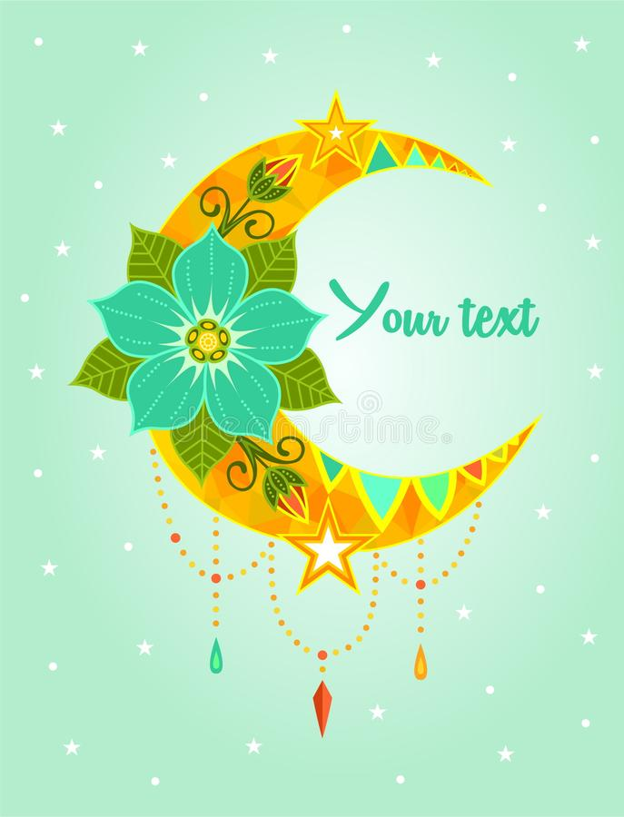 Vector illustration colored flowers Beautiful Deco Moon, Patterned Design Element, Ethnic Amulet, Tattoo starry sky star romance p. Oster card fairy tale banner stock illustration
