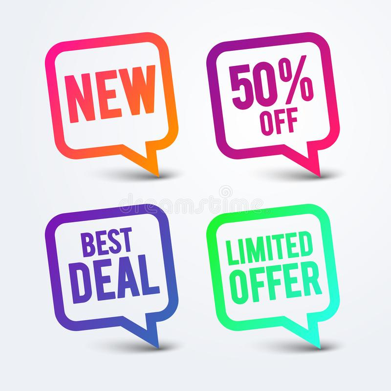 Free Vector Illustration Colorful Best Deal Speech Bubble, New Sticker, 50 Procent Off Icon, Limited Offer Label. Royalty Free Stock Photography - 161972167