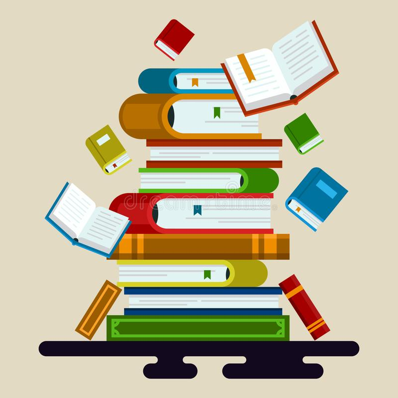 Vector illustration of colorful books. vector illustration