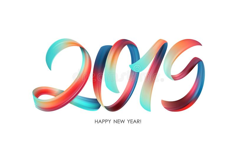 Vector illustration: Colorful Brushstroke paint lettering calligraphy of 2019 Happy New Year on white background. vector illustration