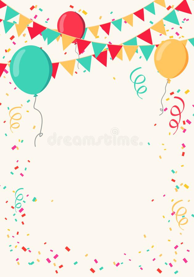 Vector Illustration Colorful Celebrate Background. Party Flags with Confetti and Balloons stock illustration