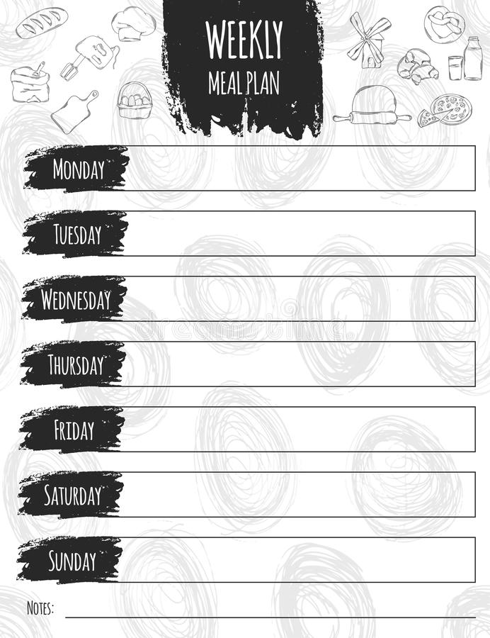 Vector illustration of colorful design food list for a week. It can be used as a poster, greeting card, invitation. Printed materials. Scrapbooking. Diet royalty free illustration