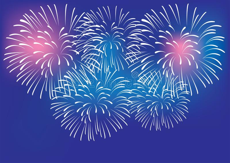 Vector Colorful Fireworks Background Celebration And Party Concept. Vector illustration of colorful fireworks celebration party background 4th of July New Year`s royalty free illustration
