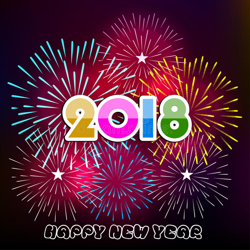 Vector illustration of Colorful fireworks. Happy new year 2018 theme. Vector illustration of Colorful fireworks. Happy new year 2018 vector illustration