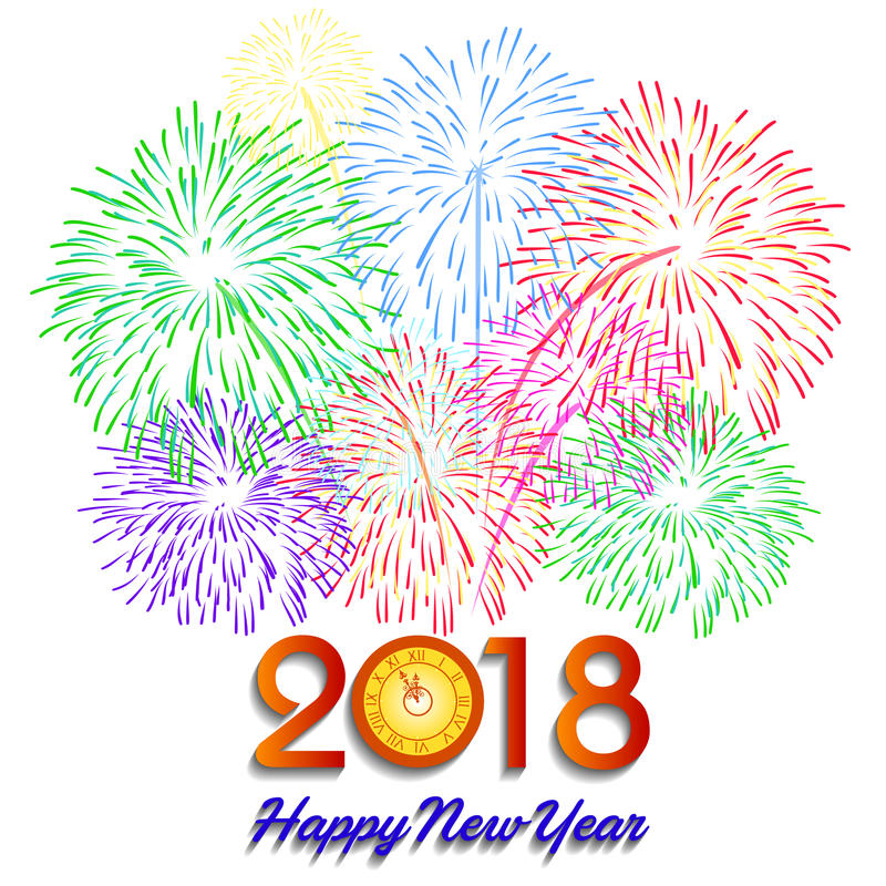Vector illustration of Colorful fireworks. Happy new year 2018 theme. Vector illustration of Colorful fireworks. Happy new year 2018 stock illustration