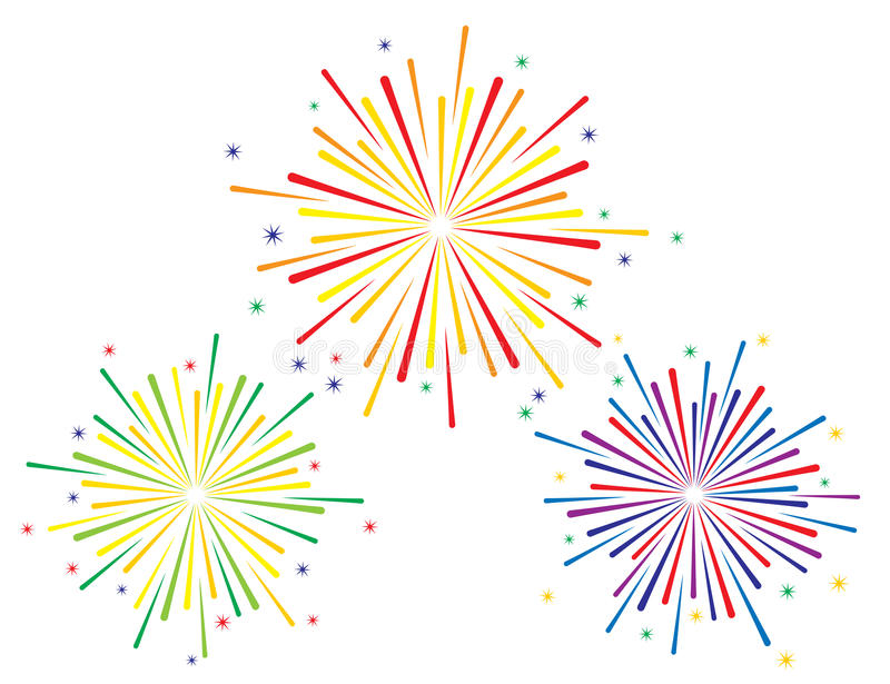Vector illustration of colorful fireworks set. On white background vector illustration