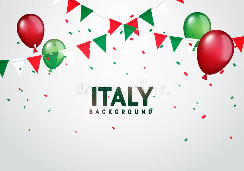 Vector Illustration Colorful Flags, Balloos And Confetti Of Italy. Festive Celebration Party Background. royalty free illustration