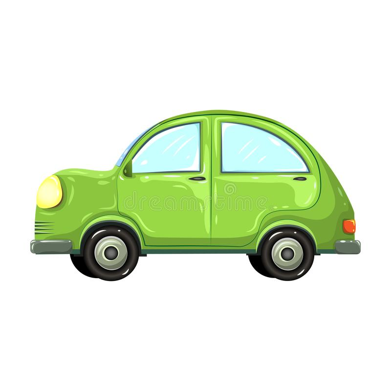 Vector illustration of colorful green car isolated on white background. hatchback green car side view. comic, or cartoon stock illustration