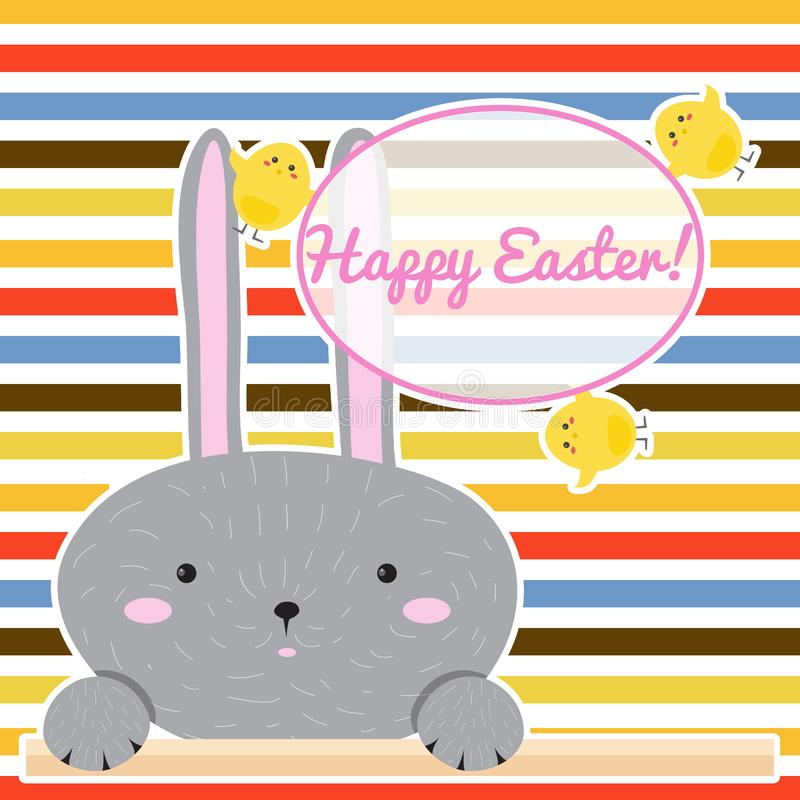 Colorful Happy Easter greeting card with cartoon rabbit Bunny. stock illustration