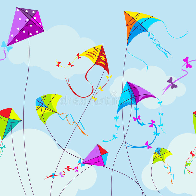 Vector illustration of colorful kites and clouds stock illustration