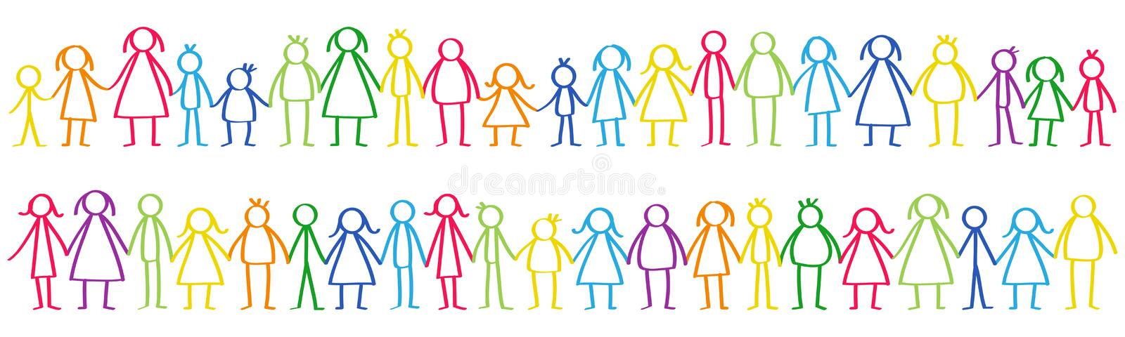 Vector illustration of colorful male and female stick figures standing in rows holding hands vector illustration